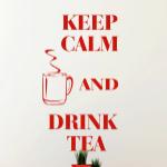 Welurowa naklejka napisy Keep calm and drink tea W32