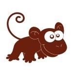 Naklejka welurowa ścienna Małpka W2