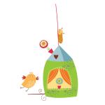 Naklejka ścienna Domek i ptaszek K1