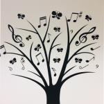 Naklejka welurowa na ścianę Drzewko muzyczne M1