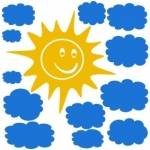 Naklejki na ścianę Słońce i chmurki M14