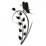 Naklejka ścienna Kwiat z motylkiem M22