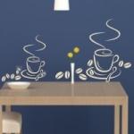 Welurowa naklejka ścienna Filiżanki kawy z ziarenkami W12