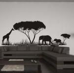 Naklejka welurowa Drzewa i słonie W31