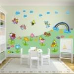 Naklejki na ścianę Kwiaty kolorowe na łące K5