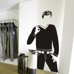 Naklejka welurowa na ścianę Mężczyzna na zakupach W25