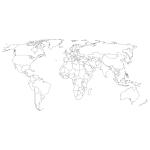 Szablon malarski na ścianę Konturowa mapa świata S26