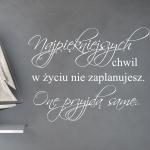 Naklejka welurowa z tekstem Najpiękniejszych chwil W30
