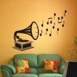 Szablon dekoracyjny Gramofon z nutami S10
