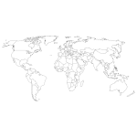 Naklejka na ścianę Konturowa mapa świata M19