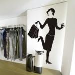 Naklejka welurowa dekoracyjna Kobieta z torebką W7