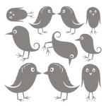 Naklejki welurowe na ścianę Zestaw ptaszków W2
