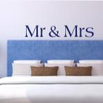 Szablon z napisami na ścianę do sypialni Mr & Mrs S2