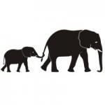 Naklejka welurowa Słonie W7