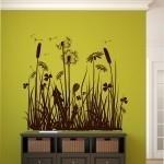 Welurowa naklejka na ścianę Dmuchawce i kwiaty W15