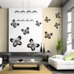 Naklejki welurowe na ścianę Zestaw motyli W8